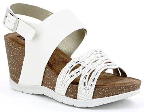 Inblu Sandali Scalzati Femme Mod. Ligne Tc-12 White Wedges Bio