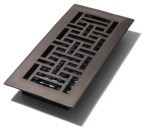 Decor Grates AJ410-RB 4-Inch by 10-Inch Oriental Floor Register, Solid Brass with Rubbed Bronze Finish by Decor Grates by Decor Grates