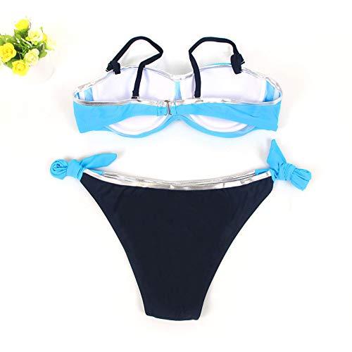 imbottito Suit Spiaggia Indoor Attraente da Sport il libero Riou bagno Ladies Sexy Cut vacanze scuro blu Push confortevole Abbigliamento up per tempo Bikini monocromatica Low E2WH9ID
