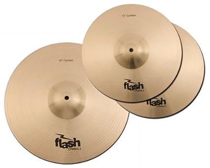 Flash Impact Series 368 Schlagzeug Becken Set (Drum Cymbals, 13 HiHats, 16 Crash-Ride, 18 Crash-Ride, voller, durchsetzungsfähiger Sound) 13 HiHats 16 Crash-Ride 18 Crash-Ride Platin