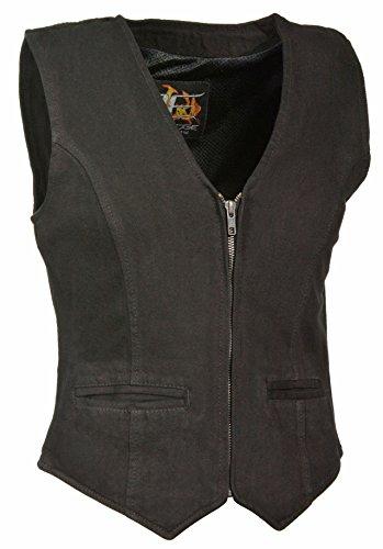Ladies Zipper Front Denim Vest w/ V Neck Collar (Black, 2X) (Zipper Vest Leather)