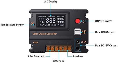 Decdeal Solarlade Regler Solar Panel Batterie Regulator mit Dual USB und LCD Bildschirm 10A 12V/24V