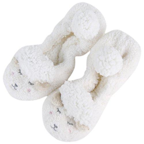 Pantofola Antiscivolo Da Donna Per Casa Sfilata Di Pelo Di Moda Animale Domestico Di Colore Bianco