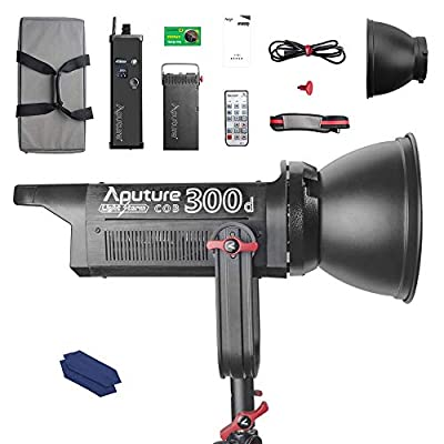 Aputure COB 300D LS C300D Daylight Balanced Led Video Light CRI95+ TLCI96+ 48000lux@0.5M Bowens Mount 2.4G Remote Control 18dB Low Noise V-Mount Plate with Canvas Bag and Cleaning Kit