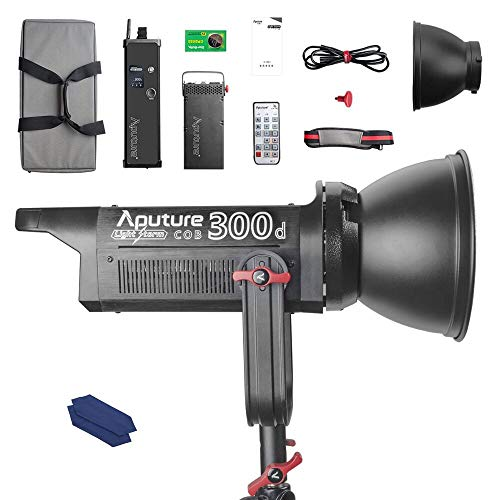 Aputure COB 300D LS C300D Daylight Balanced Led Video Light CRI95+ TLCI96+ 48000lux@0.5M Bowens Mount 2.4G Remote Control 18dB Low Noise V-Mount Plate with Canvas Bag and Cleaning ()