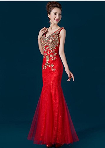 Spitzen Emily Strass Nixe Partei Rot Stickerei Abendkleider Lange Beauty Maxi wtSxCqSU