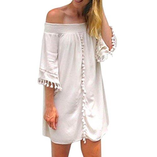 Les Femmes Crystell Robe, Les Femmes Mode Casual Épaule Solide De Froid Sexy Pompons Loose Bohé Coton Mini-robe Courte Par