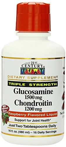 21st Century Glucosamine Chondroitin, 3X, Liquid Raspberry, 16 Ounces (Pack of ()