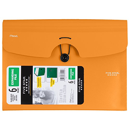 "Five Star Expanding File, 6-Pocket, 13"" x 9-3/8"", Color Selected For You May Vary (35552)"