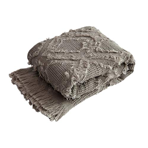 """Sofila 100% Cotton Throw Blanket Super Soft Woven Waffle Plaid Cover for Sofa Chair Couch Bed Home Decorative Everyday Use, 46"""" x 60"""", Gray"""