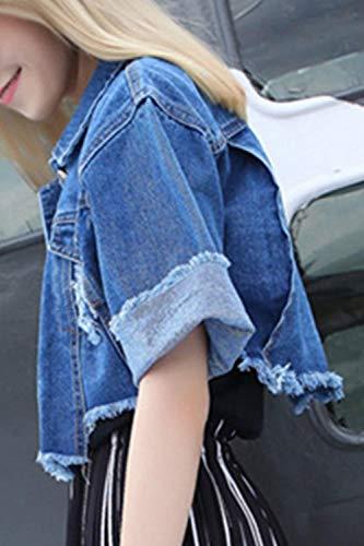 Stile Blau Jeans Manica Asimmetrico Giacca Corta Chic Giacche Casual Corto Jacket Cute Denim Autunno Moda Donna Bavero Fidanzato Eleganti Estiva ZWHzcqqdSw