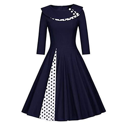 (New Style Women autumn Polka Dot Vintage Dress Fashion Party Daily Sweetheart O Neck Waist Big Swing long sleeve Tunic Dresses Clearance)