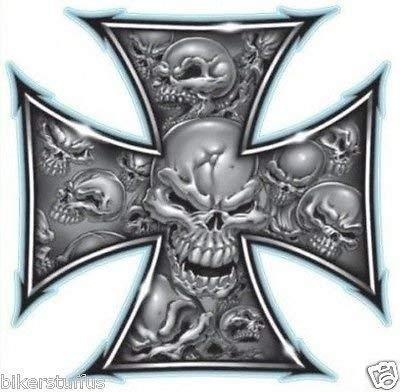 (MFX Design Iron Cross Skull Sticker Decal Vinyl - Made in USA 3.25 in. x 3.25)