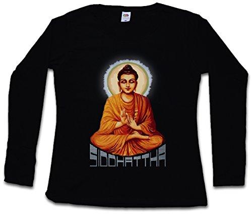 SIDDHATTHA GOTAMA VINTAGE DAMEN GIRLIE LANGARM T-SHIRT - Buddhismus Indien Buddha Siddhartha Zen India Buddhism Größen XS – 2XL