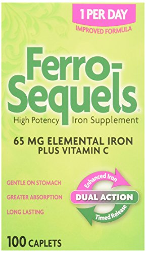 Ferro-Sequels High Potency Iron Supplement caplets, 100-Count (Pack of 2)