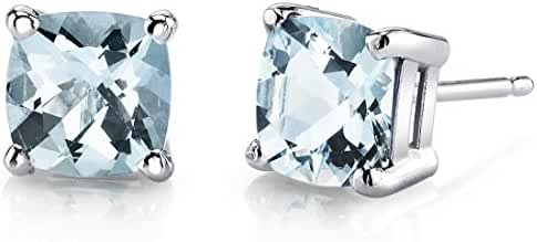 14 Karat White Gold Cushion Cut 1.50 Carats Aquamarine Stud Earrings