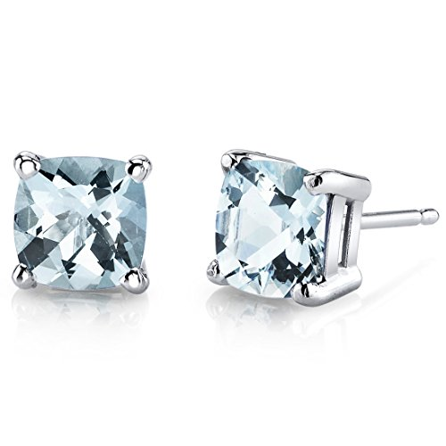 - 14 Karat White Gold Cushion Cut 1.50 Carats Aquamarine Stud Earrings