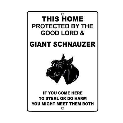 TammieLove Metallschild Riesenschnauzer Hund Home Protected by Good Lord und 20,3 x 30,5 cm