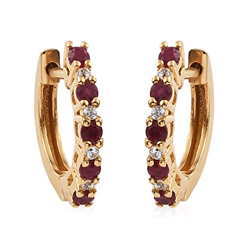 - Ruby Zircon Hoops Hoop Earrings 925 Sterling Silver Vermeil Yellow Gold Jewelry for Women Ct 0.5