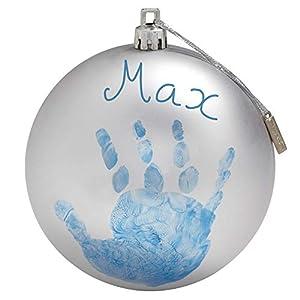 Baby Art My Christmas Fairy Pallina di Natale in Plastica, Decorazione Natalizia Albero Natale, con Kit Impronta, Argento 8 spesavip