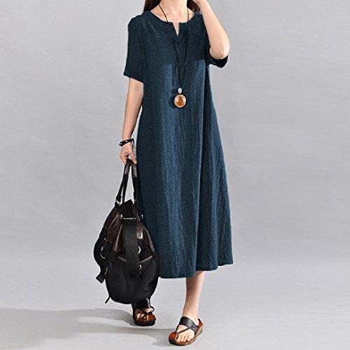 en Jupe V URSING Marine Casual Vintage Coton de Col Taille Longue Courte Dcontracte Bohme Robe Grande Mode Linge Robes Solide Femmes Dcontracte lgant Manche 4Rwq48