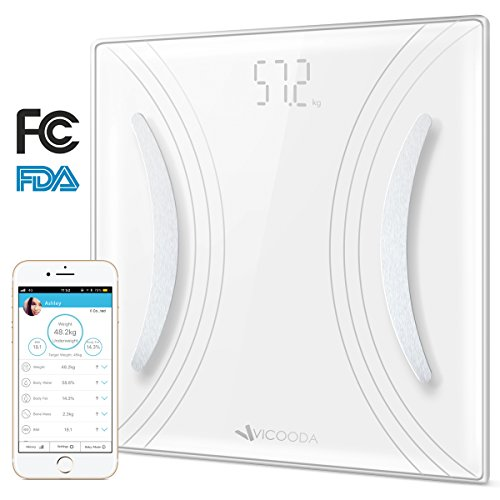Digital Bathroom Body Fat Scale,VICOODA Weigh Scale with iOS and Android App Bluetooth Wireless Smart Weigh BMI Scale for Body Weight, Fat, Water, BMR, Muscle Mass - White