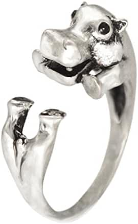 Antique Silver Realistic Hippo Animal Wrap Ring Fashion Jewelry for Women and Girls