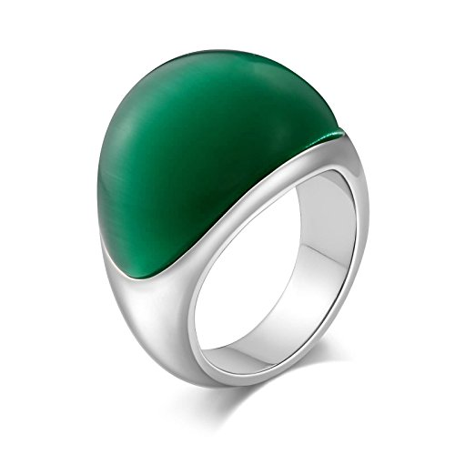 Aooaz Stainless Steel Ring for Men Diamond-Accented Semi-Arc Cz Signet Rings Silver Green US Size 9 Diamond Shape Signet Ring