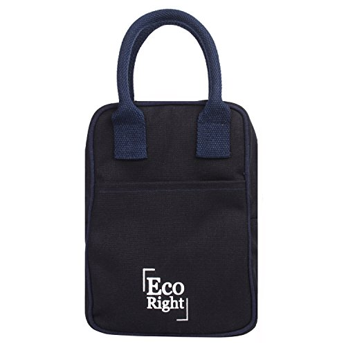 EcoRight Canvas Insulated Lunch Bag for Women, Men, Kids - 5 ltrs Capacity | Reusable | Washable | Ethically Manufactured - Navy Blue ()