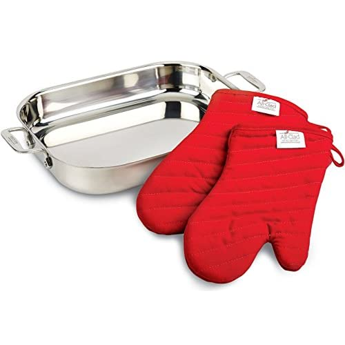 All-Clad 00830 Stainless-Steel Lasagna Pan with 2 Oven Mitts / Cookware, Silver