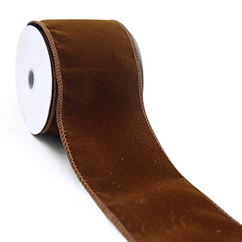 - CT CRAFT LLC Brown Plain Velvet Wired Ribbon - 2.5 Inch x 10 Yards x 1 Roll