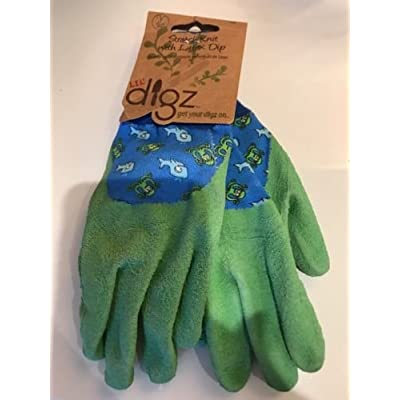 415a9a784b1 1 Pair Kids Lil  Digz Gardening Gloves Blue Boys Stretch Knit With Latex Dip