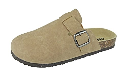 Outwoods Women's Clog-2 Vegan Leather Buckle Strap Slip-On Clogs (10