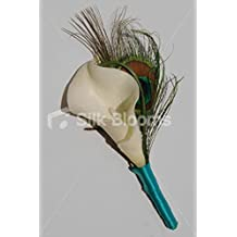 Beautiful Ivory Calla Lily & Peacock Feather Wedding Buttonhole