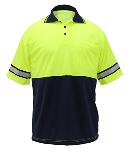 first-class-two-tone-polyester-polo-shirt-with-reflective-stripes-lime-yellow-navy-5xl-short-sleeve