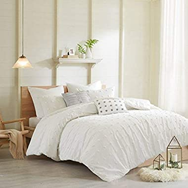 Urban Habitat Brooklyn Comforter Set Full/Queen Size - Ivory, Tufted Cotton Chenille Dots – 7 Piece Bed Sets – 100% Cotton Jacquard Teen Bedding for Girls Bedroom