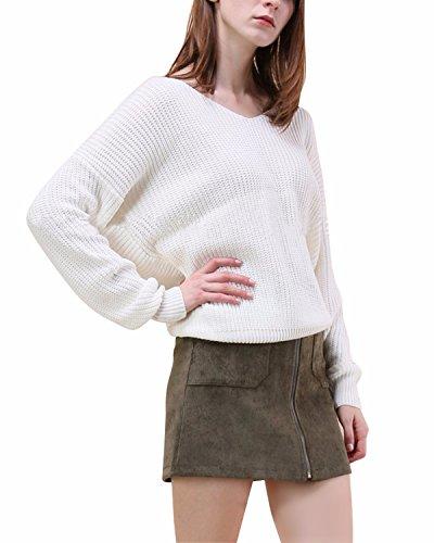 BONESUN Women's Long Sleeve Deep V Neck Criss Cross Backless Knit Sweater Pullover White (Criss Cross Pleated Jumper)