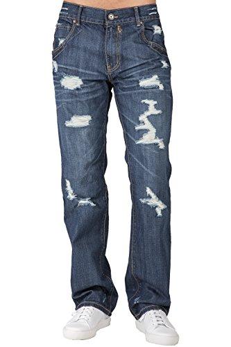 Level 7 Mens Relaxed Straight Leg Dark Indigo Destroyed and Repaired Premium Denim Jeans Zipper Pocket