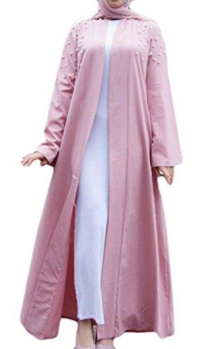 Pandapang Women Stylish Muslim Abaya Robe Maxi Saudi Arabia Beaded Cardigan Belted Cardigans Pink L