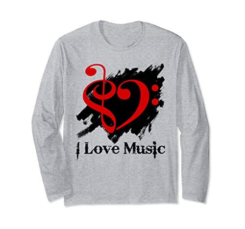 Treble Clef Bass Clef Red Heart Grunge Brush Strokes Bassist Long Sleeve T-Shirt