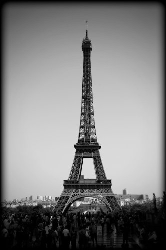Eiffel tower paris france black and white print prbw7353 4x6