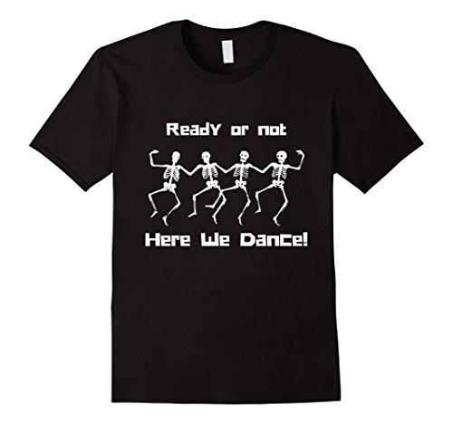 Mens David S Pumpkins Here We Dance Funny Halloween Tee 2XL Black (Dance Halloween Pumpkin)