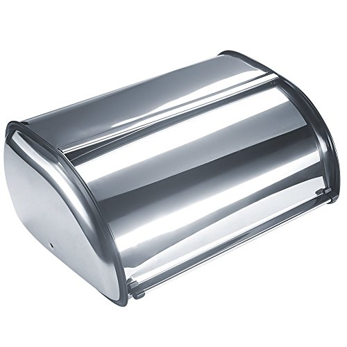 Bekith Brushed Stainless Steel Roll Top Bread Box for kitchen, bread bin, bread storage and bread holder (Steel Stainless Bin Bread)