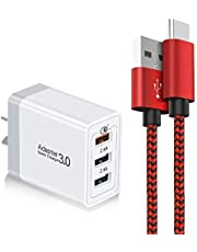 IGUGIG USB C Cable 6.6FT with Adaptive Fast Charger, 28W 3-Port Quick Charge 3.0 Wall Charger + Braided Type C Cable Fast Charging Compatible with Samsung Galaxy Note 10/9, S10/S9 Plus, LG V50