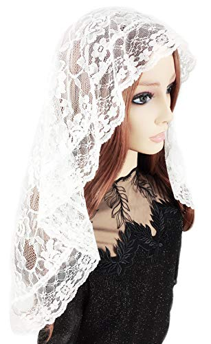Pamor D Shape Veil Lace Mantilla Catholic Church Chapel Veil Head Covering Latin Mass Scarf with Free Hairclip (white)