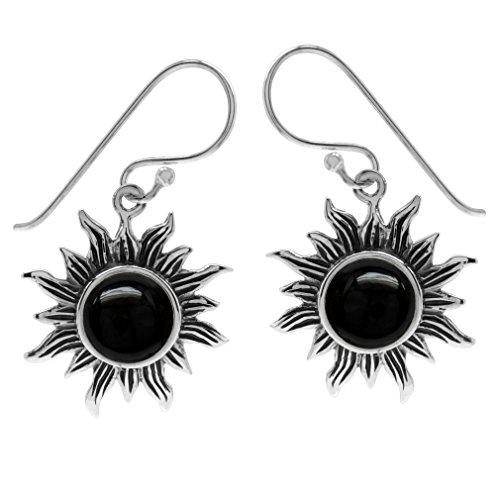 Silvershake Created Black Onyx 925 Sterling Silver Sun Ray Inspired Dangle Hook Earrings
