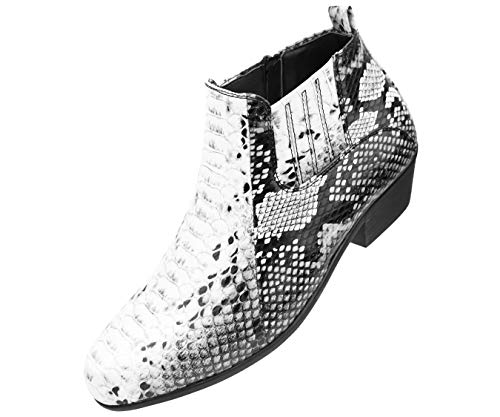 Bolano Men's Exotic Demi Dress Boot in Faux Snake Print Pattern, Style Adder