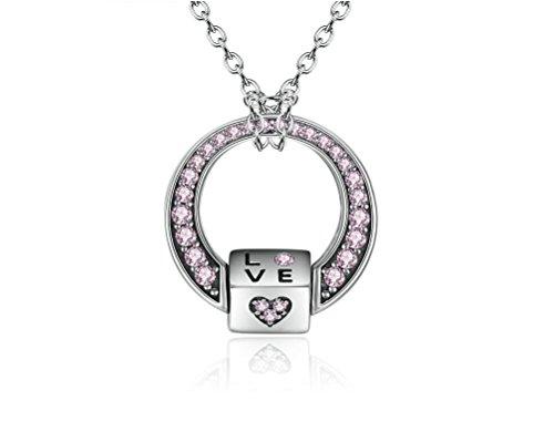 Cadenas/Collares De Mujer Joyería Fina Nueva Colección 2018 Pink CZ Love Heart Pendants Necklaces for Women CO0014