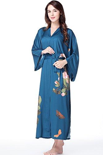 ArtiDeco giapponese da pollici da stile lungo per in maschera raso Päonie pigiama Robe 53 party sposa 135 cm donna in Kimono Festa in Blau pigiameria cinese in vestaglia Kimono rrwqPCFnU