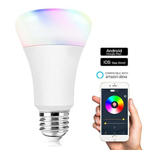 WiFi Smart Bulb, Morpilot Smart WiFi Light Bulbs- 7.5W E27 B22 RGB Multicolored Dimmable LED Bulbs, No Hub Required, Work with Alexa Echo Voice Remote Control by Smartphone iOS/Android Google Home.